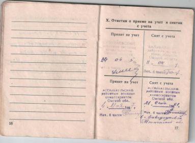 Военный билет страницы № 16, № 17