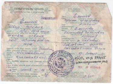 Свидетельство о рождении Елисеева Ивана Кузьмича