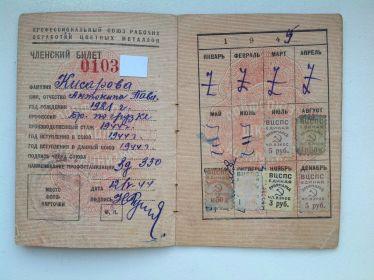Членский билет, оборонный завод Компрессор.