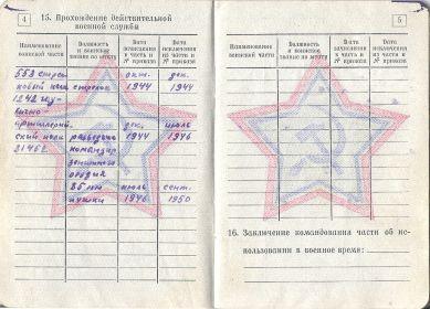 Ксерокопия военного билета НМ № 3380178 стр.4-5