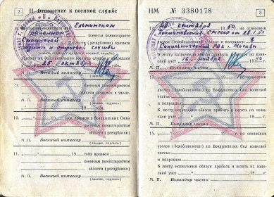 Ксерокопия военного билета НМ № 3380178 стр.2-3