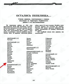 Список деревень, уничтоженных в период оккупации на тер. Парфинского района.