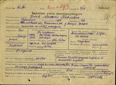 Карточка учёта военнослужащего