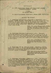 Приказ 1376 стрелковый полк 417 стрелковой дивизии Северокавказского фронта № 09 н от 29.04.1943 «За боевые заслуги» № 9н от 29.04.1943
