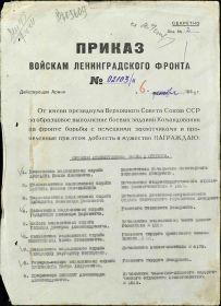 Приказ № 02103-н от 06.12.1943 о награждении орденом Красной Звезды (стр. 01)