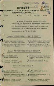 Приказ командующего ВВС Черноморского флота о награждении Орденом Отечественной Войны 1 степени