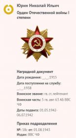 Наградной документ - Орден Отечественной Войны 1ст.