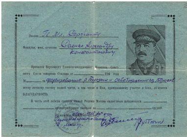 За освобождение города Борисов