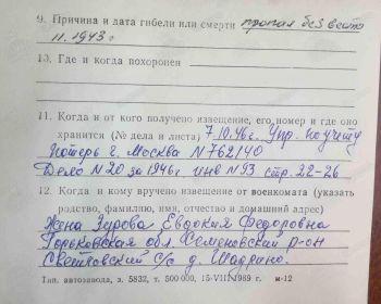Карточка учета погибших в ВОВ оборот