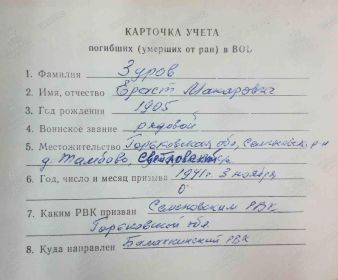 Карточка учета погибших в ВОВ