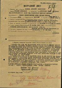 Наградной лист к ордену Отечественная Война