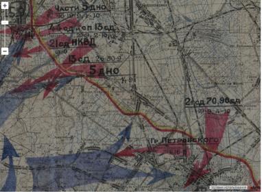 Карта боевых действий район  Старо-Паново, Пулковские высоты