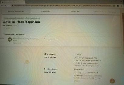 сводная информация о месте призыва Дяченко