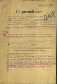 Наградной лист и листы приказа о награждении