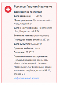 Данные госпиталя о смерти
