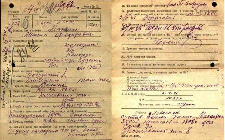 Алфавитная учётная карта Горьковского ВПП (Сшивка №136), сс. 98,99