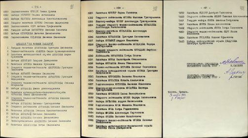 гв. мл. лейтенант Медаль «За боевые заслуги» №: 219/164 от: 03.11.1944 Фонд ист. информации: Р7523, Опись ист. информации: 4, Дело ист. информации: 284