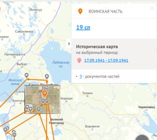 Карта боевых действий части 19сп под Ленинградом