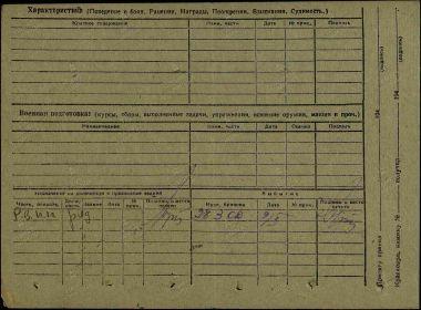 Оборотная сторона учетной карточки Ростовского военно-пересыльного пункта