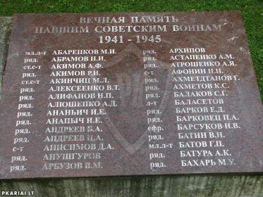 Список захороненных в деревне Лукшяй, Литва