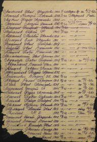 Список призыва и демобилизации