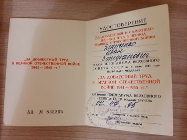 """Удостоверение """" За Доблестный Труд в Великой Отечественной Войне 1941-1945 г.""""  АА №85266  Выдано 07.07.1995"""