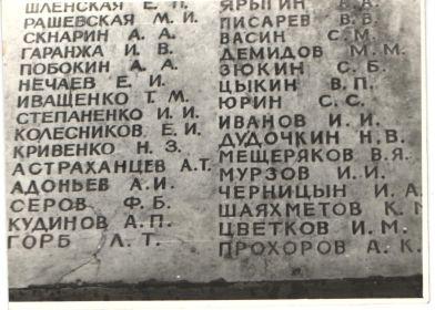 Имя солдата на памятнике