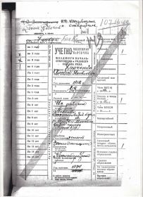 учётная карточка Красноармейца с 1934 года.