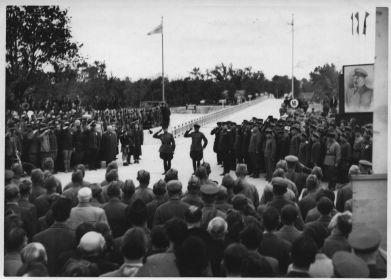 Венгрия, Будапешт.1945 . Сдача восстановленного моста (МалыгинВ.А. с тростью)