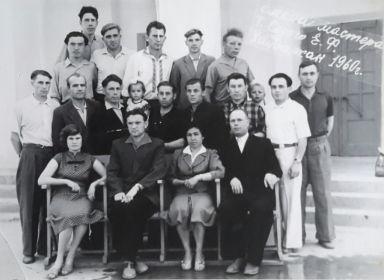 Медянов И.Н.(2-й ряд,с дочкой),рудник №6,Хайдаркан,кирг.ССР