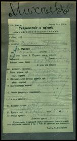 Госпитальная карточка Николо-Утрежского Госпиталя, 1916 год, 1-я Мировая Война