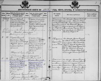 Метрика Берновской Успенской церкви о браке, 1914 год.