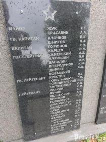 Мемориальная плита на Мемориальном комплексе п. Бабушкино
