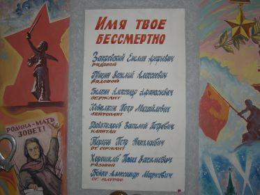 памятная доска работников- участников Великой Отечественной войны  в музее Таштагольского техникума горных технологий и сферы обслуживания