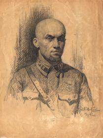 Портрет Малыгина В.А., выполненный худ-ом Б. Щербаковым. Куйбышев 1942 г.