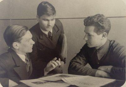 Шмелёв А., Порываев П., Андреев В. Март, 1939 год. Фото Катаева