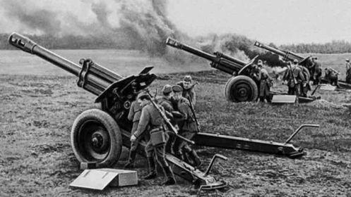 Гаубицы полка на позиции