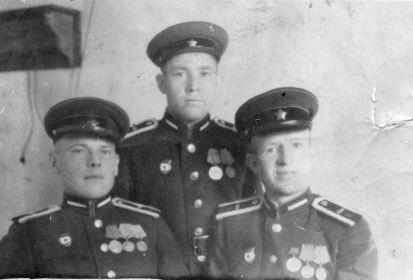 1945 год.  В центре Степан Михайлович Гришин со своими фронтовыми друзьями.