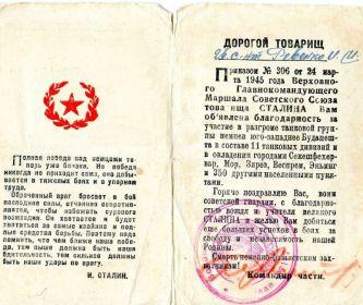 Благодарность за участие в разгроме танковой группы немцев юго-западнее Будапешта в марте 1945г.