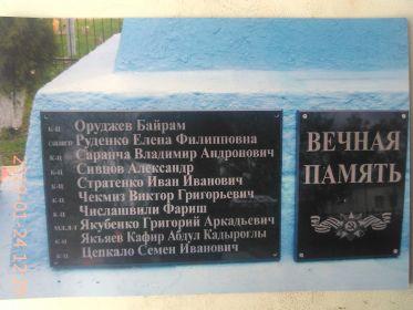 Табличка под памятником в хуторе.