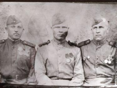 1944г. Боевые друзья, земляки. Шилков Алексей Дмитриевич, Серебряков Николай Александрович, Чунаков Иван Трофимович