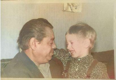 Сергей Фёдорович с внуком Сашей Губановым, фото после ВОВ.