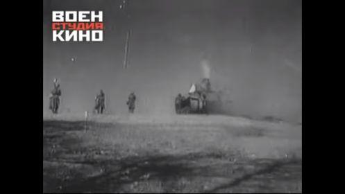 Бой в Сталинграде. На снимке видно попадание вражеского снаряда в башню танка 90 тбр.