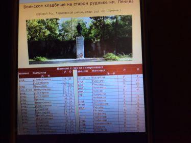 Воинское кладбище на старом руднике им. Ленина