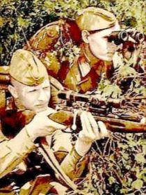 Командир отделения снайперов сержант Золкин на позиции