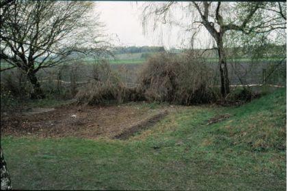 Бывшее место складирования гробов (сравни с предыдущим снимком), с засыпанными срезами раскопок (тёмные полосы в центре фотографии).