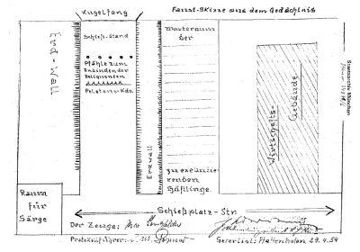 Общий набросок полигона Хебертсхаузен, сделанный в 1956 г., бывшим служащим СС Максом Ленгфельдером.