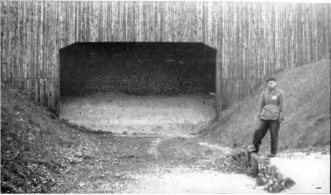 Западная расстрельная полоса, с дощатым пулеуловителем и низкой платформой, у подножия западного вала.