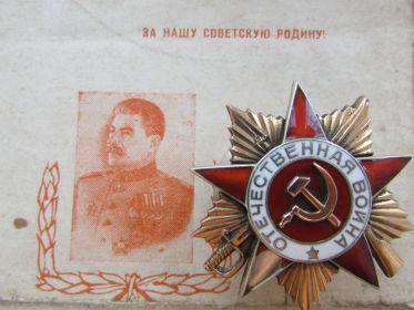 Орден Отечественной Войны  1 -ой степени.