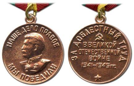 За доблестный труд в Великой Отечественной войне 1941-1945 гг.
